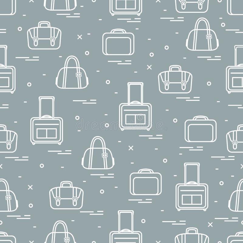 Śliczny bezszwowy wzór z różną torbą i walizkami dla podróży Lato czas, wakacje royalty ilustracja