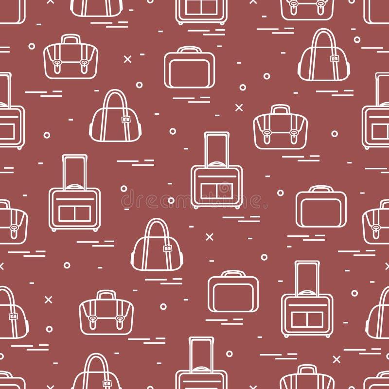 Śliczny bezszwowy wzór z różną torbą i walizkami dla podróży Lato czas, wakacje ilustracja wektor