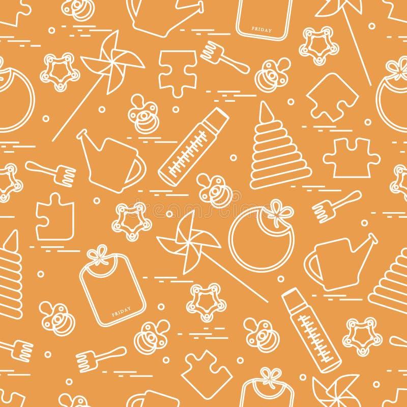 Śliczny bezszwowy wzór z rozmaitość children zabawkami i towarami: bi royalty ilustracja