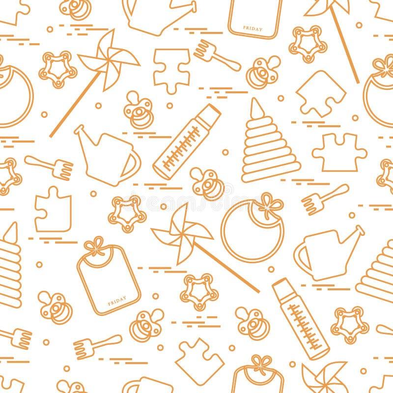 Śliczny bezszwowy wzór z rozmaitość children zabawkami i towarami: bi ilustracja wektor