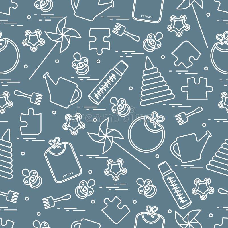 Śliczny bezszwowy wzór z rozmaitość children zabawkami i towarami: bi ilustracji