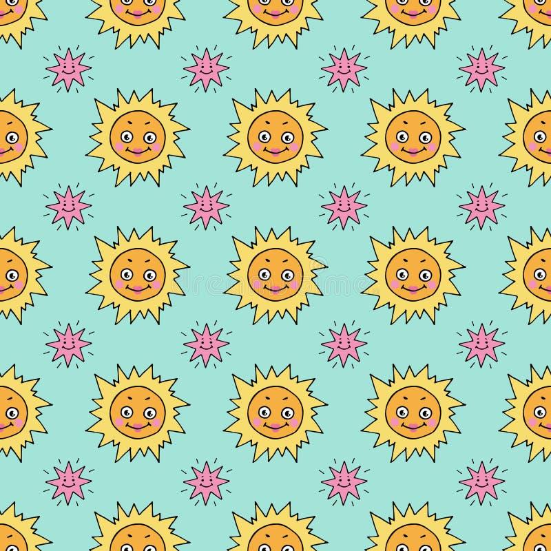 Śliczny bezszwowy wzór z słońcem i gwiazdami royalty ilustracja