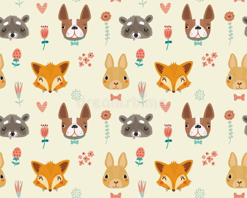 Śliczny bezszwowy wzór z zwierzętami i kwiatami ilustracja wektor