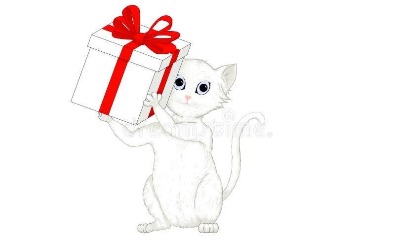 Śliczny biały i szary kot trzyma prezenta pudełko z czerwonym faborkiem royalty ilustracja
