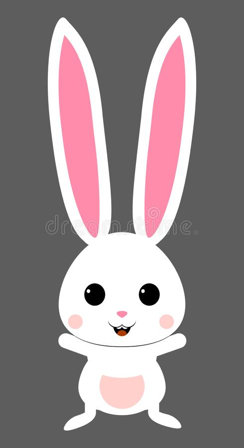Śliczny biały królik z różową dyszą Odosobniony wektor ilustracja wektor