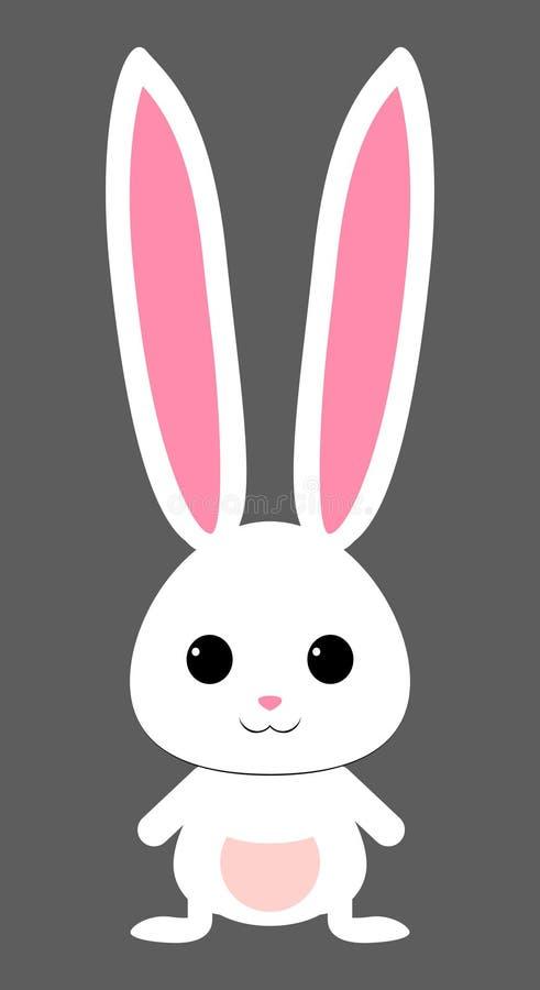 Śliczny biały królik z różową dyszą Odosobniony wektor royalty ilustracja