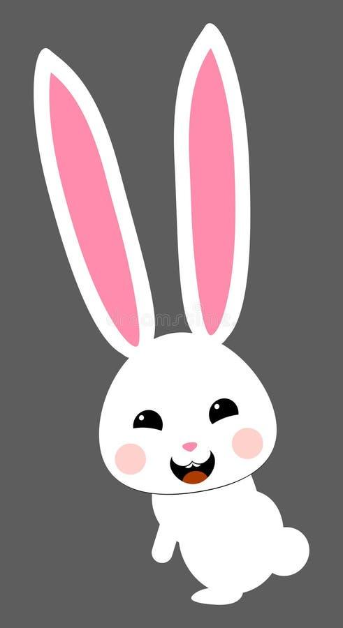 Śliczny biały królik z różową dyszą Odosobniony wektor ilustracji