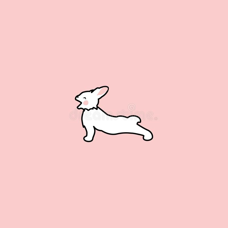 Śliczny biały królik ziewa bocznego widok i chlasta Śmieszny królik Ręka rysujący elementy ilustracji