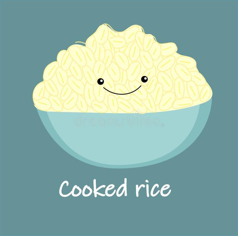 Śliczny biel gotujący ryżowy kreskówka wektor tajskie jedzenie Puchar, puchar ręka Rysująca Wektorowa ilustracja ilustracja wektor
