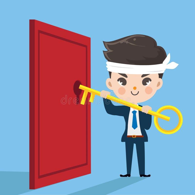 Śliczny biznesmena klucz otwiera drzwi ilustracja wektor