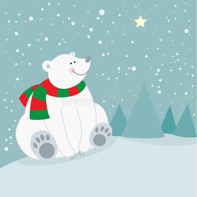 Śliczny boże narodzenie wakacje niedźwiedź polarny ilustracja wektor