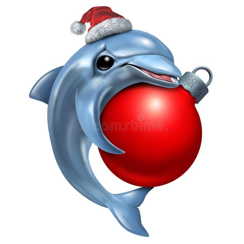 Śliczny Bożenarodzeniowy delfin ilustracja wektor