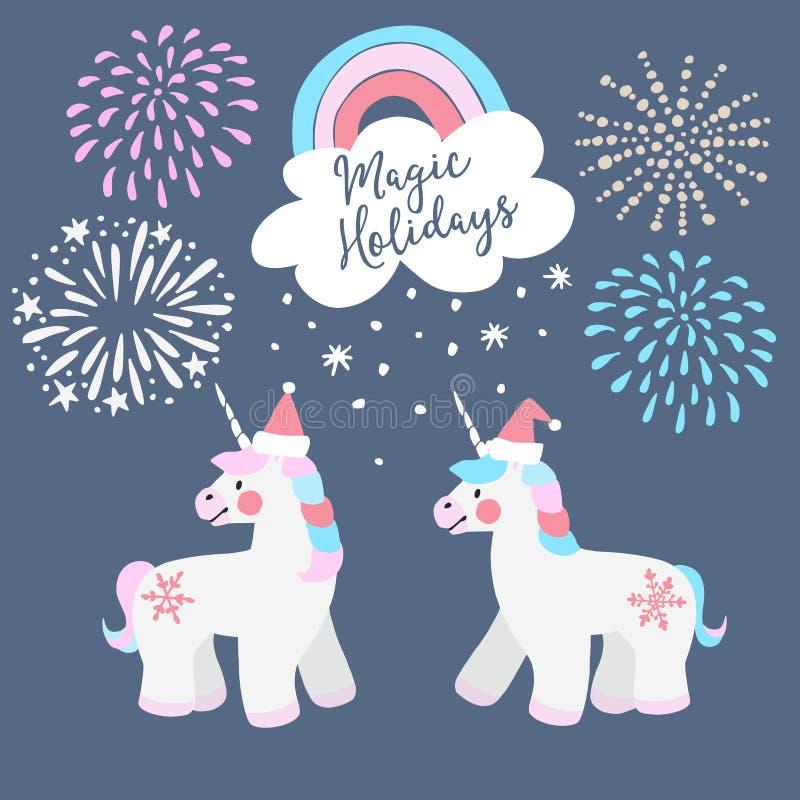 Śliczny Bożenarodzeniowy kartka z pozdrowieniami, zaproszenie Małe jednorożec z Santa kapeluszami, tęczą i spada śniegiem, ilustracji