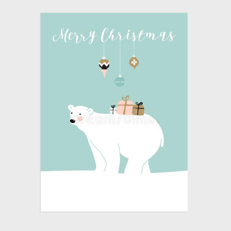 Śliczny Bożenarodzeniowy kartka z pozdrowieniami, zaproszenie z niedźwiedziem polarnym i prezentów pudełka, wektor royalty ilustracja