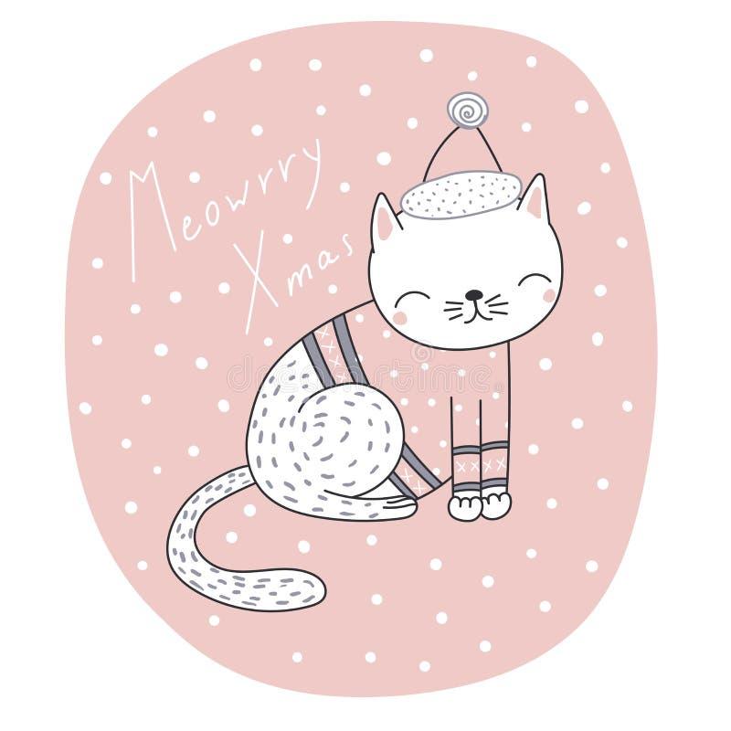 Śliczny Bożenarodzeniowy kota kartka z pozdrowieniami ilustracji