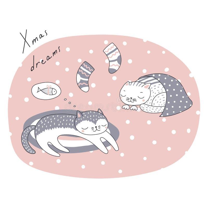 Śliczny Bożenarodzeniowy kota kartka z pozdrowieniami ilustracja wektor
