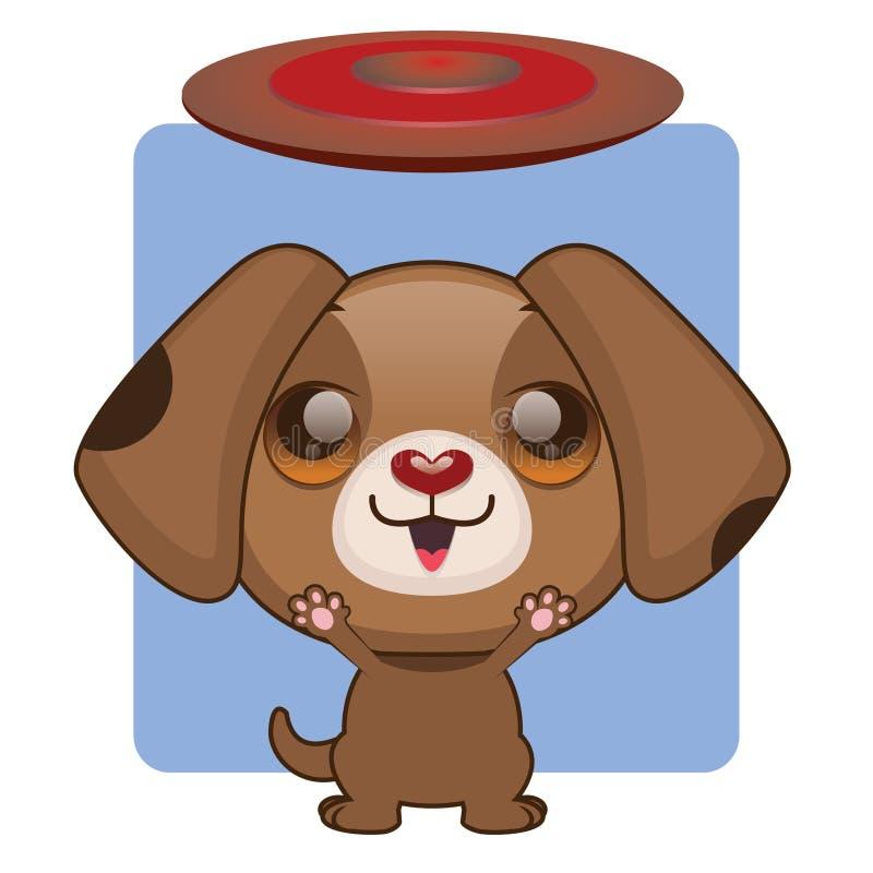 Śliczny brązu szczeniak chętny bawić się z frisbee ilustracji