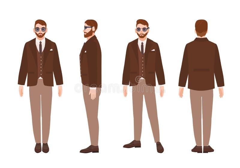 Śliczny brodaty mężczyzna lub urzędnik ubieraliśmy w eleganckim mądrze kostiumu Szczęśliwa męska postać z kreskówki jest ubranym  ilustracji
