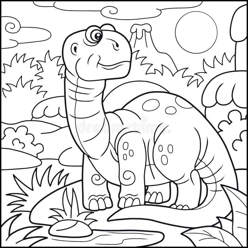 Śliczny brontosaurus, kolorystyki książka royalty ilustracja
