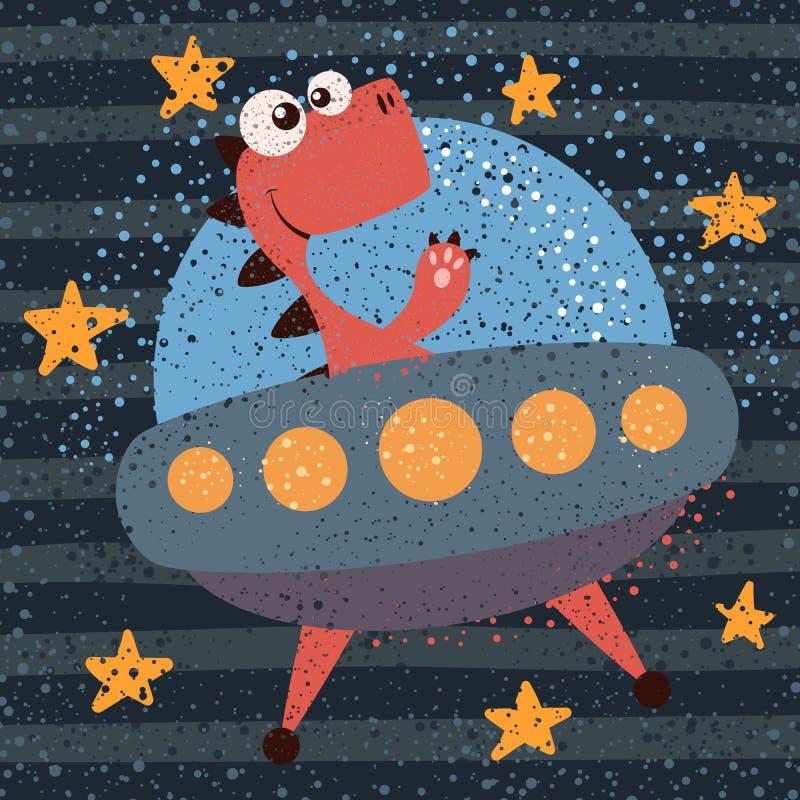 Śliczny, chłodno, ładny, śmieszny, szalony, piękny Dino charakter, UFO ilustracja ilustracja wektor