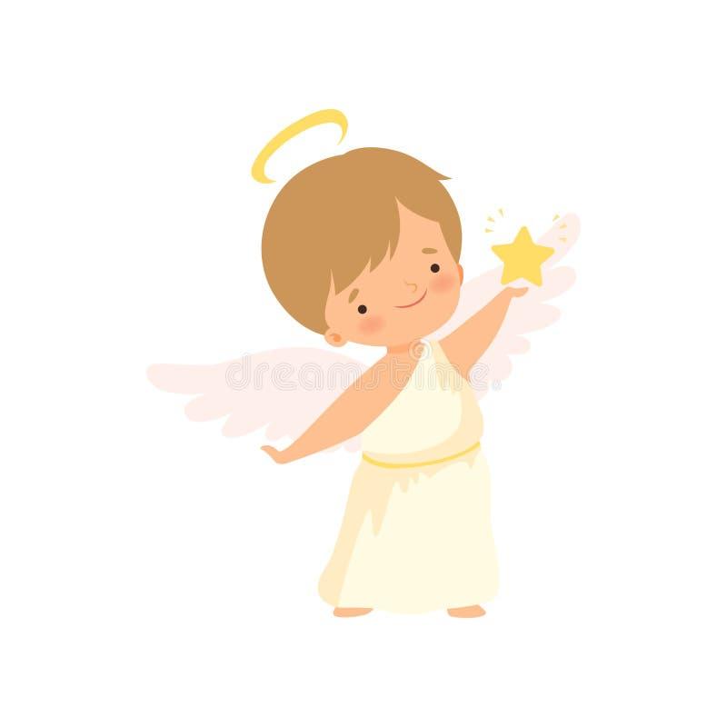 Śliczny chłopiec anioł z nimbem i skrzydłami Trzyma Złotą gwiazdę, Uroczą dziecko postaci z kreskówki w amorku lub aniołeczka kos royalty ilustracja