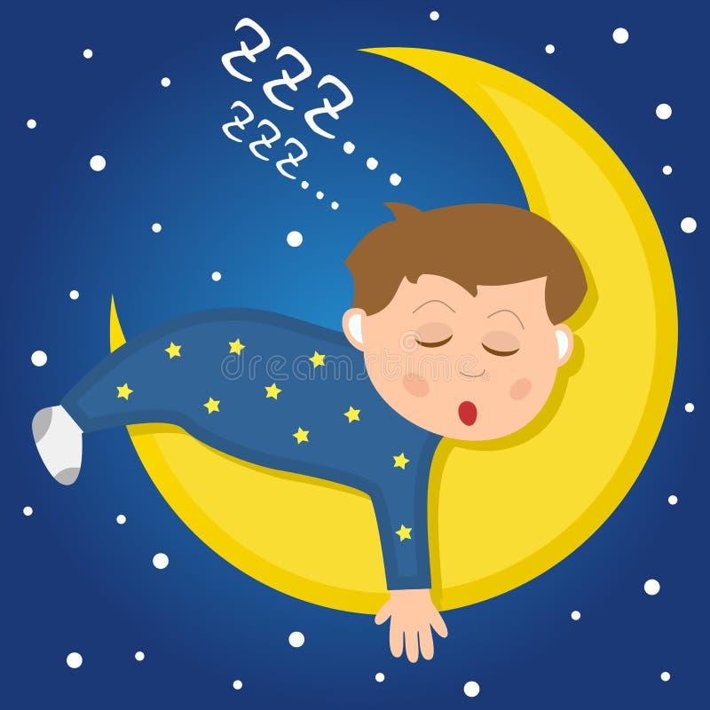 Śliczny chłopiec dosypianie na księżyc ilustracja wektor