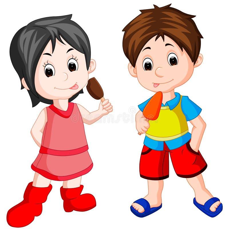 Śliczny chłopiec i dziewczyny łasowania lody royalty ilustracja