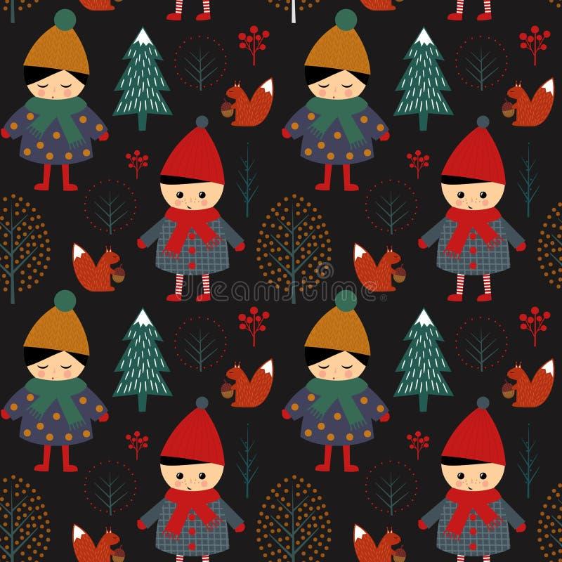 Śliczny chłopiec i dziewczyny odprowadzenie w zima lasowym bezszwowym wzorze na czarnym tle royalty ilustracja
