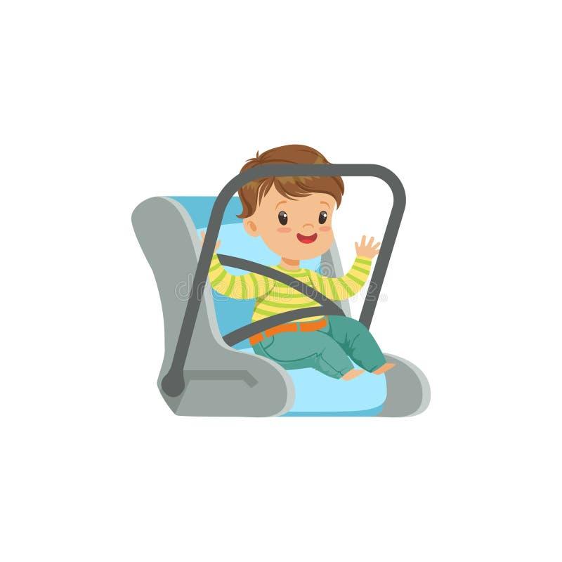 Śliczny chłopiec obsiadanie w samochodowym siedzeniu, zbawczego samochodu mała dzieciaka wektoru ilustracja transport royalty ilustracja