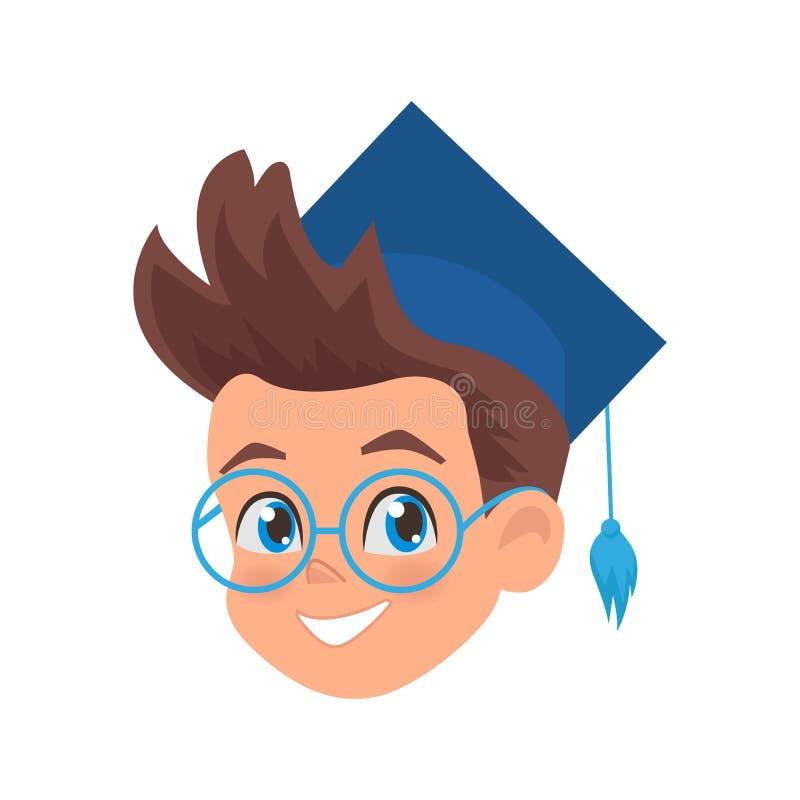 Śliczny chłopiec portret w skalowanie nakrętce Uczniowska Ilustracyjna maskotka dla szkoły, edukacji i centrum rozwoju, royalty ilustracja