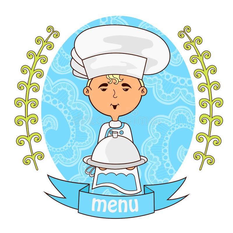 Śliczny chłopiec szefa kuchni kucharz z naczyniem na tacy menu ilustracji
