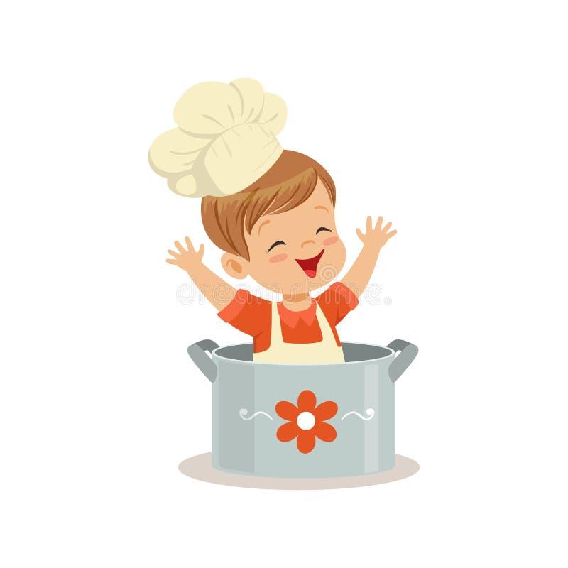 Śliczny chłopiec szefa kuchni obsiadanie w garnka wektoru ilustraci ilustracja wektor