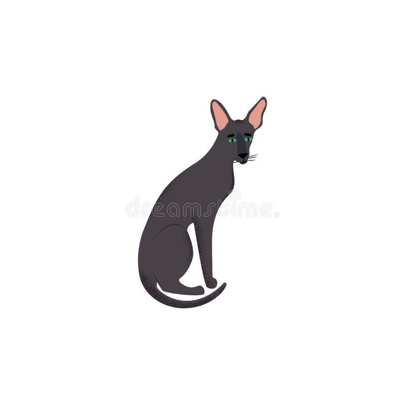Śliczny charakter kreskówki styl kot Ikona orientalny shorthair traken dla różnego projekta ilustracja wektor