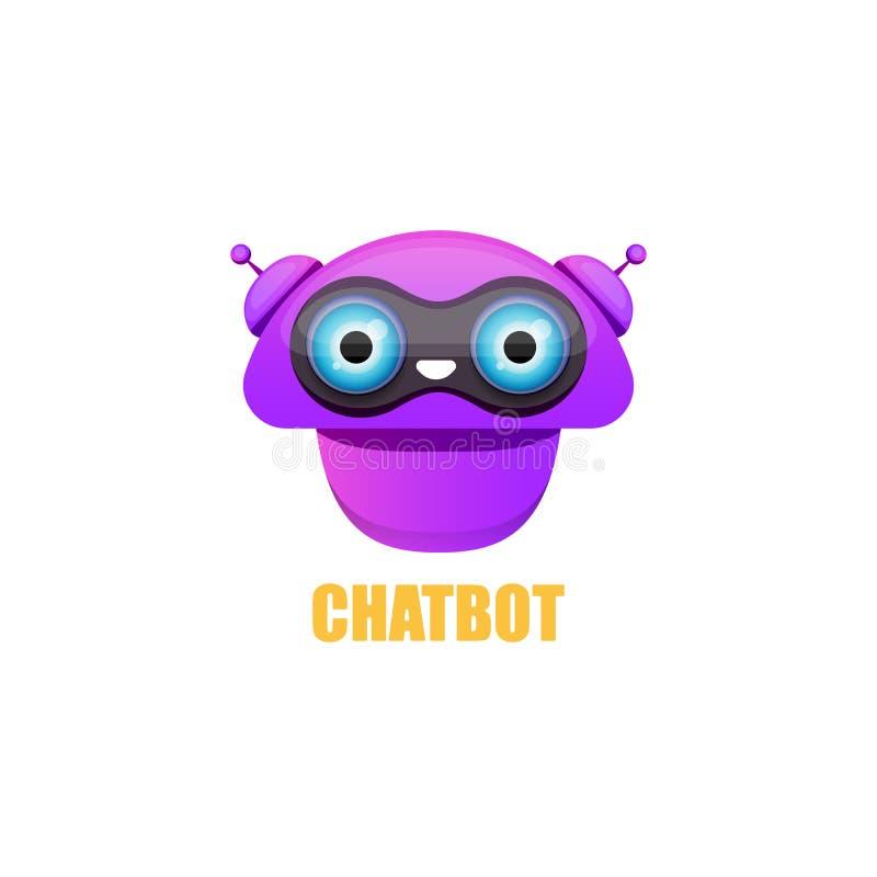 Śliczny chatbot charakter odizolowywający na białym tle Wektorowy Śmieszny robota asystent, trajkotanie larwa, pomagiera chatbot  ilustracji