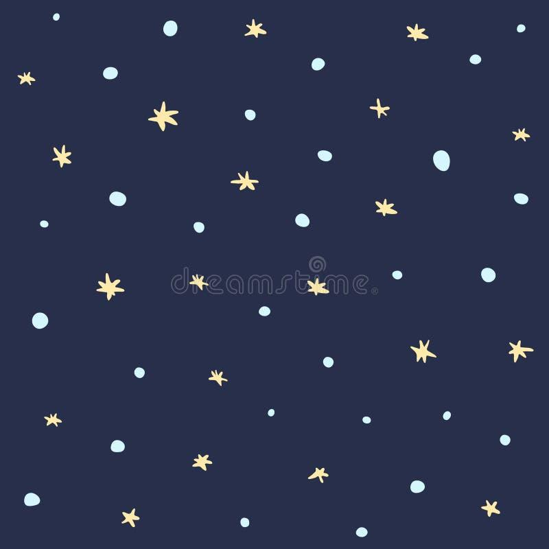 Śliczny ciemny bezszwowy wzór z śniegiem i gwiazdami obrazy royalty free