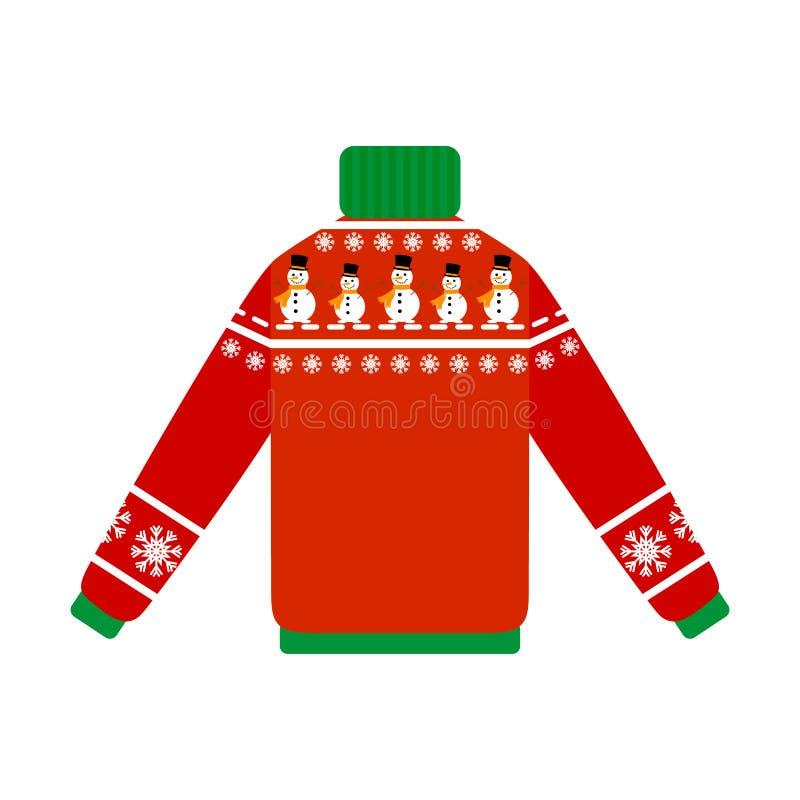 Śliczny ciepły boże narodzenie pulower dla zimy ilustracji