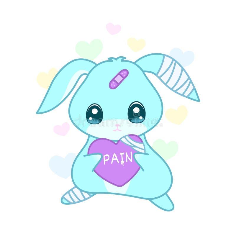 Śliczny cierpienie królik z zdradzonym sercem w yami kawaii ilustracji