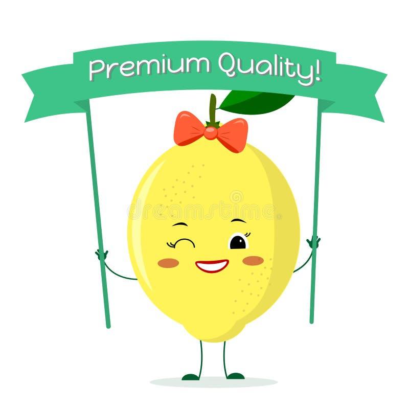 Śliczny cytryny postać z kreskówki z żółtym łękiem i kolczykami Uśmiechy i chwyty premii ilości plakat royalty ilustracja