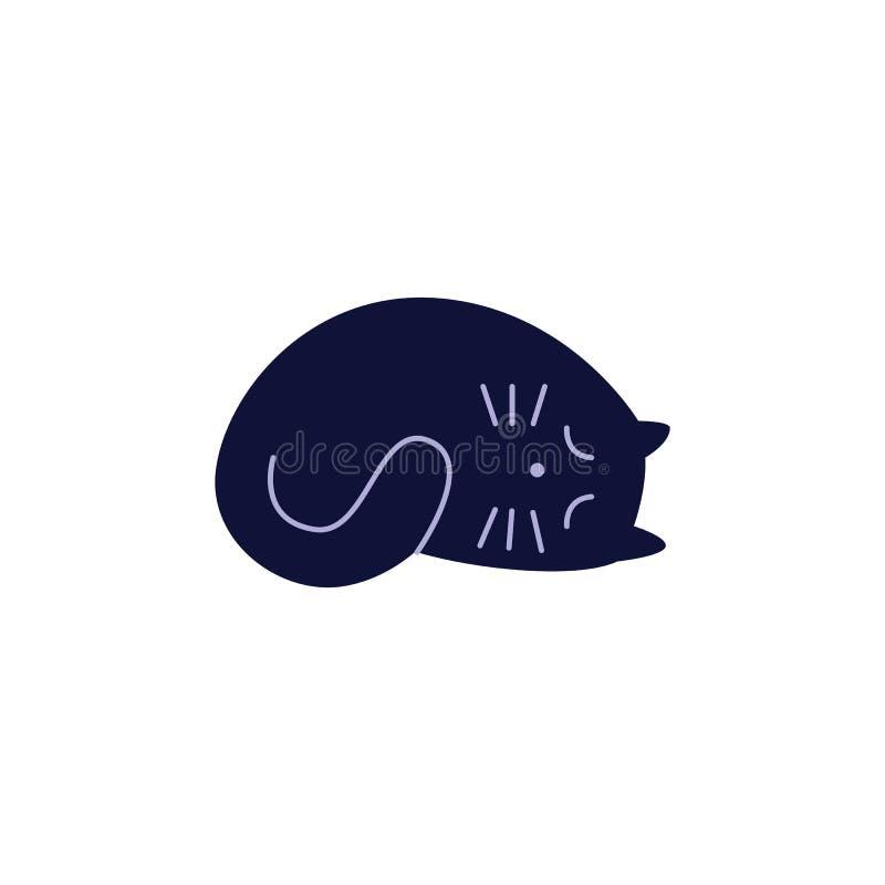 Śliczny czarnego kota dosypianie fryzujący w górę płaskiego kreskówka stylu ilustracja wektor
