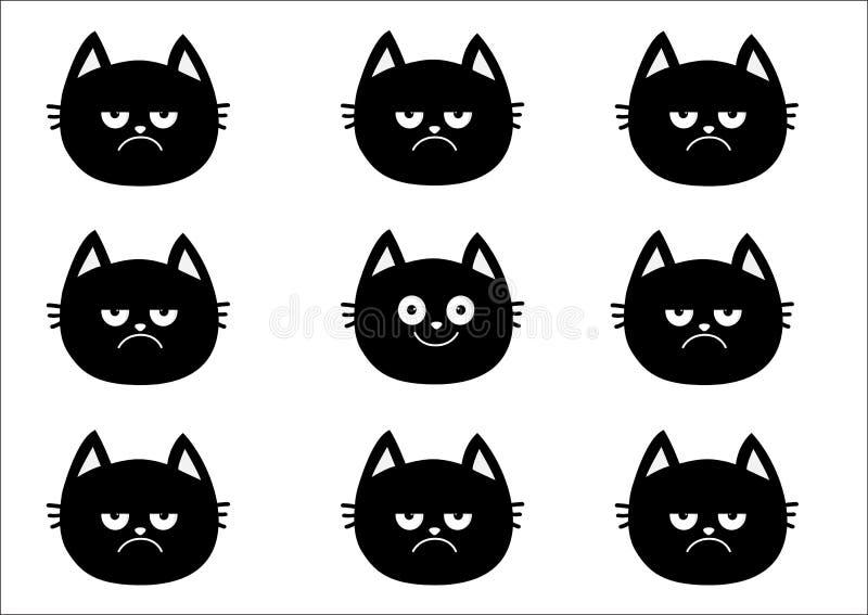 Śliczny czarnego kota set Emoci kolekcja Szczęśliwa, uśmiechnięta, smutna i gniewna figlarki głowy twarz, Optymisty pesymisty kre ilustracja wektor