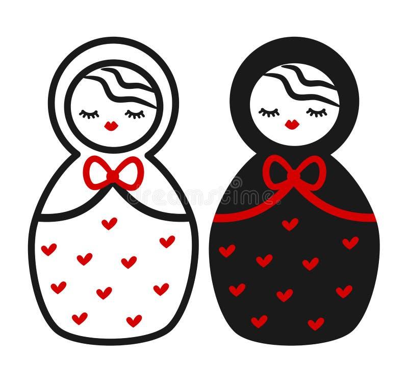 Śliczny czarny biały czerwony Matryoshka, rosyjska tradycyjna drewniana lali ilustracja ilustracji