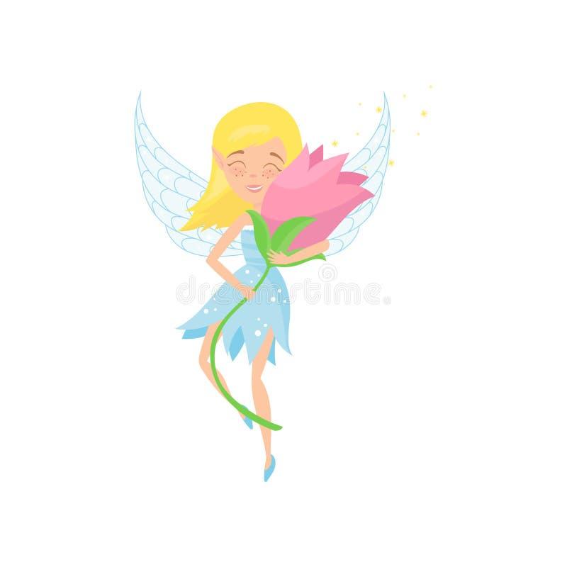 Śliczny czarodziejski latanie z pięknymi menchiami kwitnie w rękach Kreskówki blond dziewczyna w błękit sukni Uroczy pixie z troc royalty ilustracja
