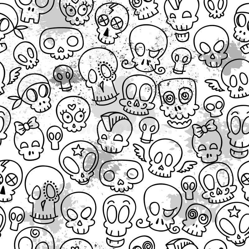 Śliczny czaszka wzór royalty ilustracja