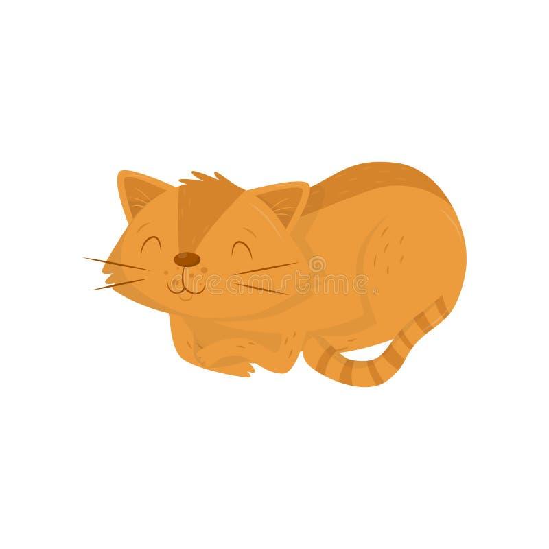 Śliczny czerwony kota lying on the beach na podłoga Figlarka z szczęśliwym kaganem i pasiastym ogonem Płaski wektorowy element dl ilustracji