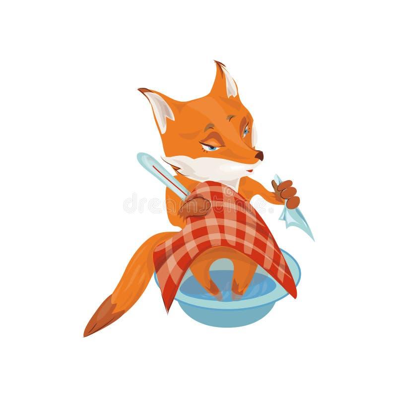 Śliczny czerwony lis jest chorobą, medyczny termometr, czerwieni pokrywa ilustracji