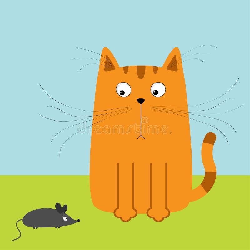Śliczny czerwony pomarańczowy kreskówka kot patrzeje myszy Duży wąsy bokobrody Śmieszny charakter Niebo i trawa Płaski projekt ilustracja wektor