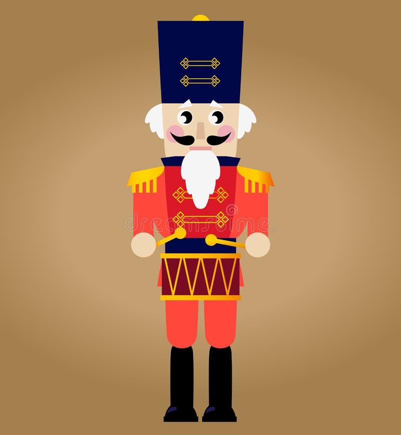 Śliczny czerwony retro Dziadek do orzechów royalty ilustracja