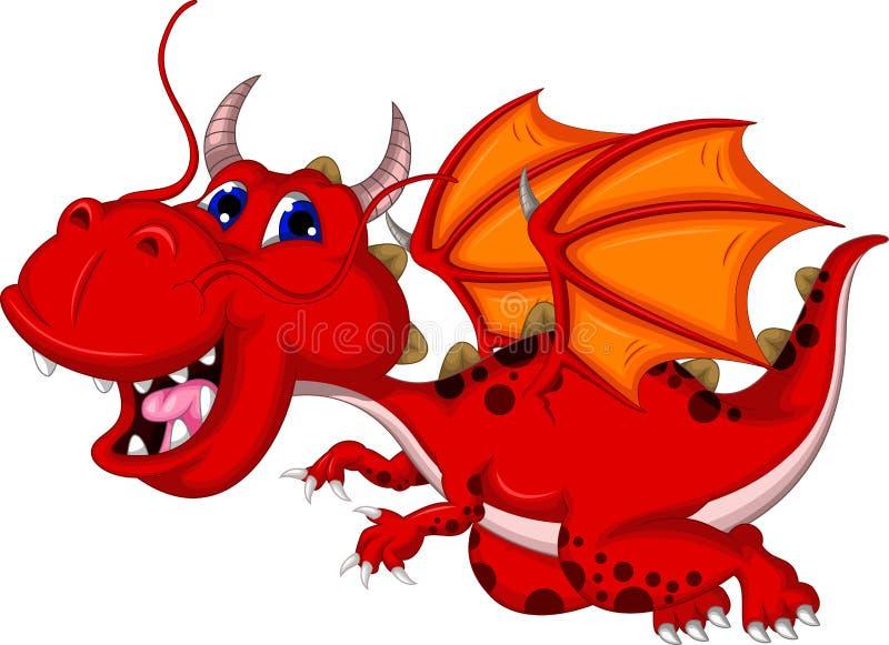 Śliczny czerwony smok kreskówki latanie royalty ilustracja