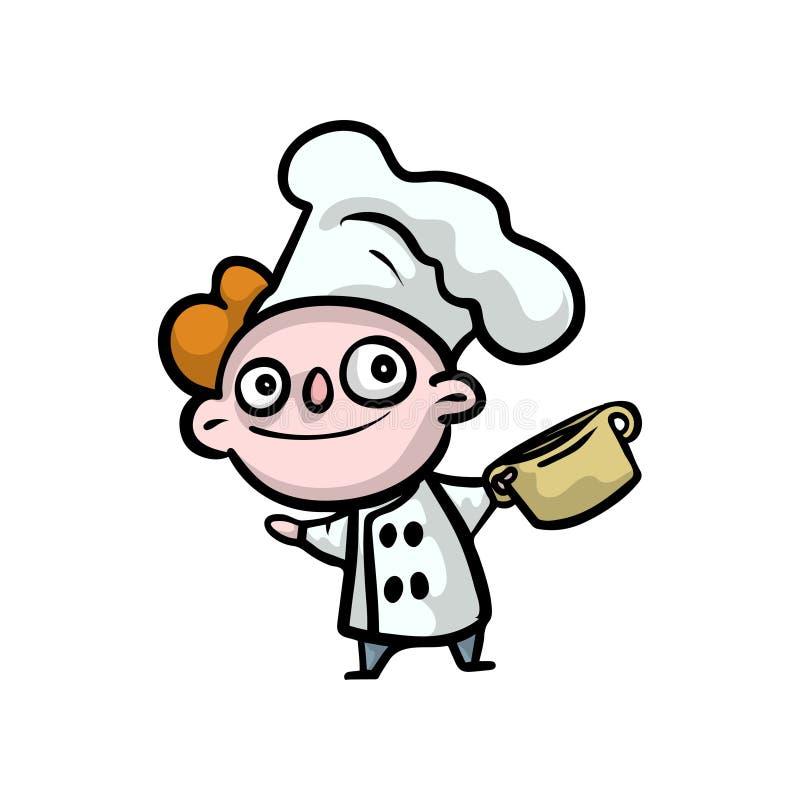 Śliczny czerwony włosiany dzieciak w bielu kucharza szefie kuchni odziewa ilustracji