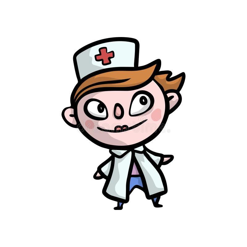 Śliczny czerwony włosiany dzieciak w lekarce odziewa z czerwonym krzyżem royalty ilustracja